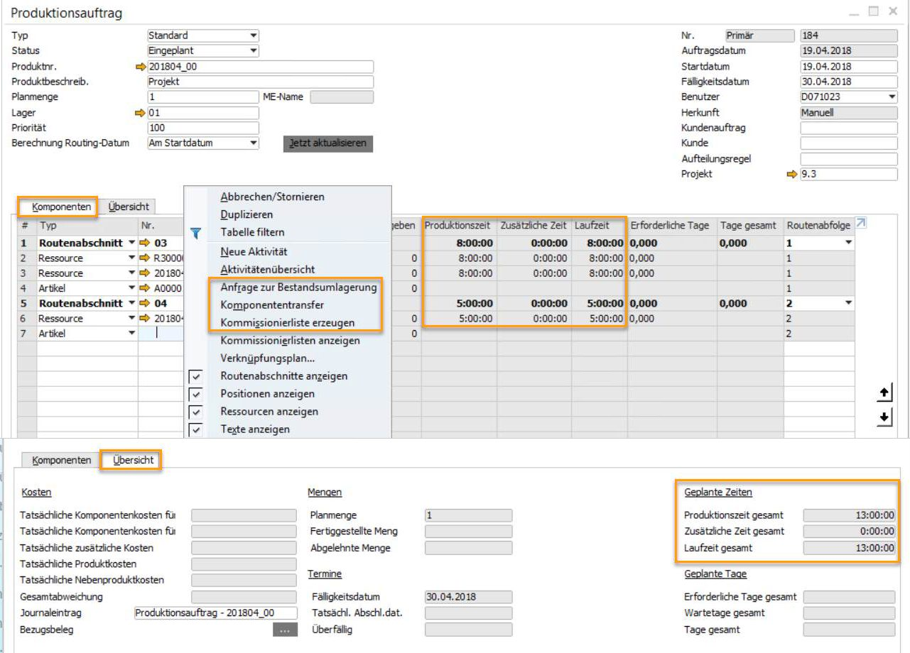 SAP Business One Version 9.3 - Produktion - Umbenennungen und neue Optionen
